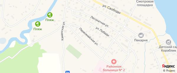 Первомайская улица на карте поселка Каменки с номерами домов