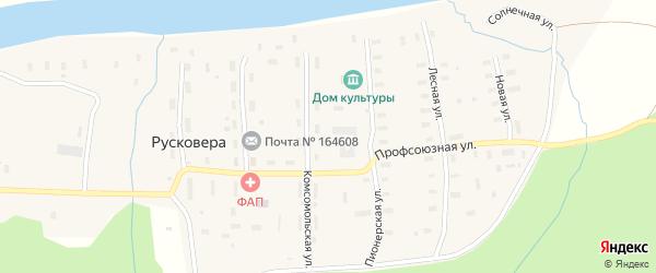 Дорожная улица на карте поселка Русковеры с номерами домов