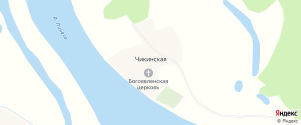 Карта Чикинской деревни в Архангельской области с улицами и номерами домов