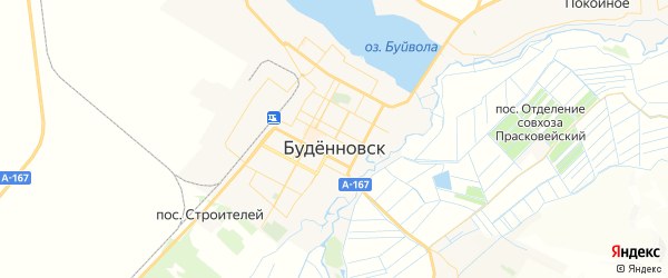 Карта Буденновска с районами, улицами и номерами домов