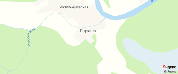 Карта деревни Пыркино в Архангельской области с улицами и номерами домов