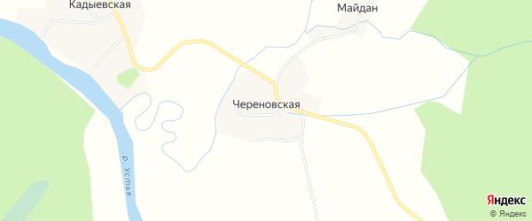 Карта Череновской деревни в Архангельской области с улицами и номерами домов