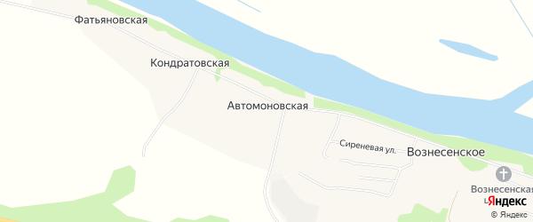 Карта Автомоновской деревни в Архангельской области с улицами и номерами домов