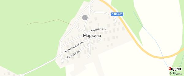 Спицынская улица на карте деревни Марьиной с номерами домов