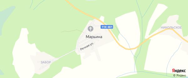 Карта деревни Марьиной в Архангельской области с улицами и номерами домов