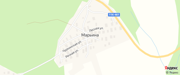 Лесная улица на карте деревни Марьиной с номерами домов