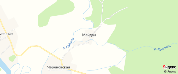 Карта хутора Майдана в Архангельской области с улицами и номерами домов