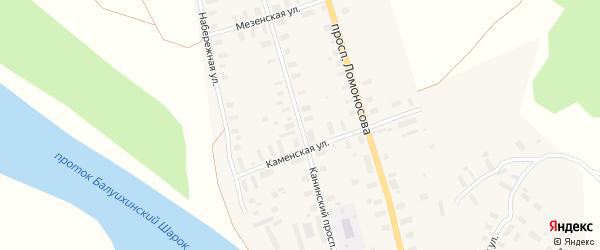 Канинский проспект на карте Мезени с номерами домов