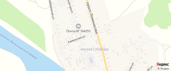 Каменская улица на карте Мезени с номерами домов