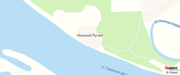 Карта деревни Нижнего Ручья в Архангельской области с улицами и номерами домов