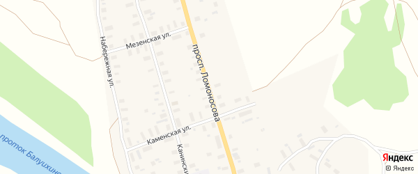 Улица Ломоносова на карте Мезени с номерами домов