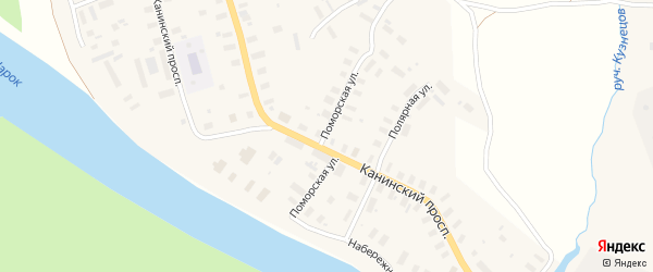 Поморская улица на карте Мезени с номерами домов