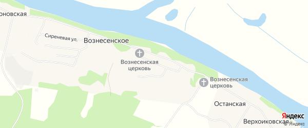 Карта Вознесенского села в Архангельской области с улицами и номерами домов
