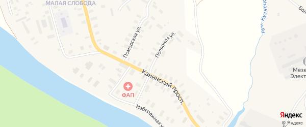 Полярная улица на карте Мезени с номерами домов