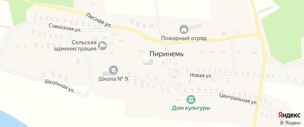 Центральная улица на карте деревни Пиринеми с номерами домов