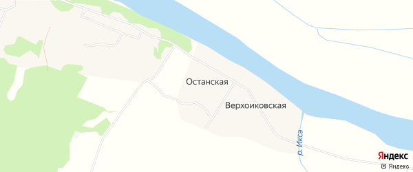 Карта Останской деревни в Архангельской области с улицами и номерами домов