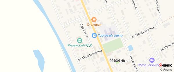 Садовая улица на карте Мезени с номерами домов