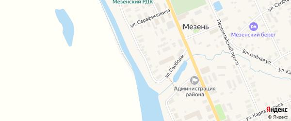 Улица Набережная им В.И.Ленина на карте Мезени с номерами домов