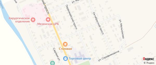 Красноармейская улица на карте Мезени с номерами домов