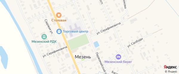 Улица Серафимовича на карте Мезени с номерами домов