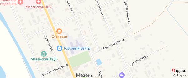 Улица Моисеенко на карте Мезени с номерами домов