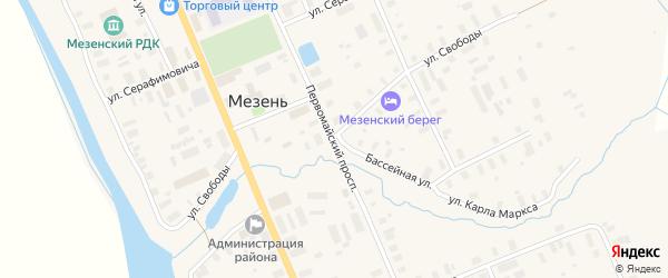 Улица Свободы на карте Мезени с номерами домов