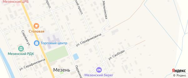 Октябрьский проспект на карте Мезени с номерами домов