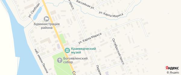 Улица Карла Маркса на карте Мезени с номерами домов
