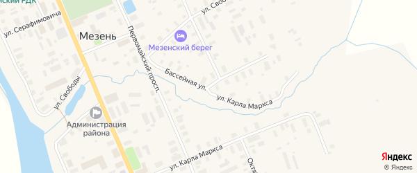Бассейная улица на карте Мезени с номерами домов