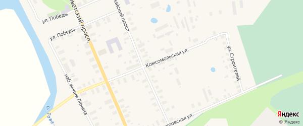 Комсомольская улица на карте Мезени с номерами домов