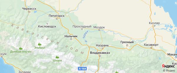 Карта Терского района республики Кабардино-Балкария с городами и населенными пунктами