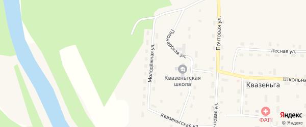 Молодежная улица на карте поселка Квазеньги с номерами домов
