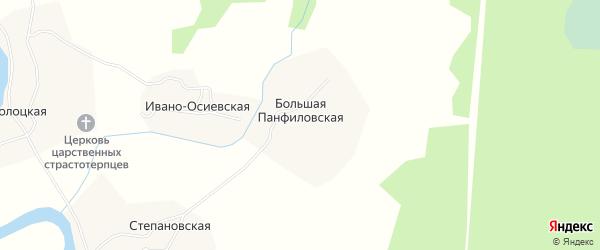 Карта Большей Панфиловской деревни в Архангельской области с улицами и номерами домов