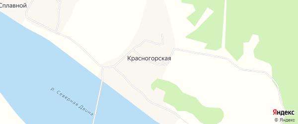 Карта Красногорской деревни в Архангельской области с улицами и номерами домов