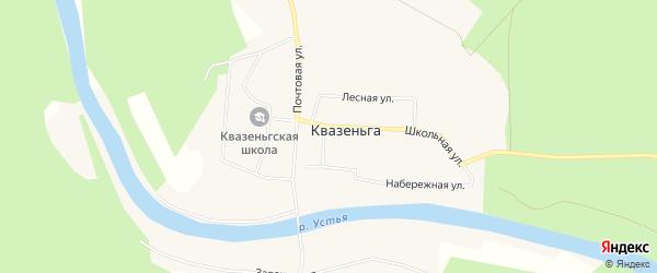 Карта поселка Квазеньги в Архангельской области с улицами и номерами домов