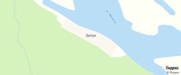 Карта поселка Затона в Архангельской области с улицами и номерами домов