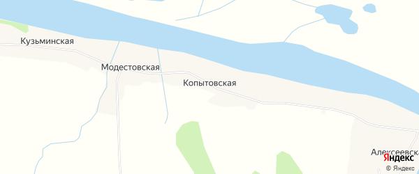 Карта Копытовской деревни в Архангельской области с улицами и номерами домов