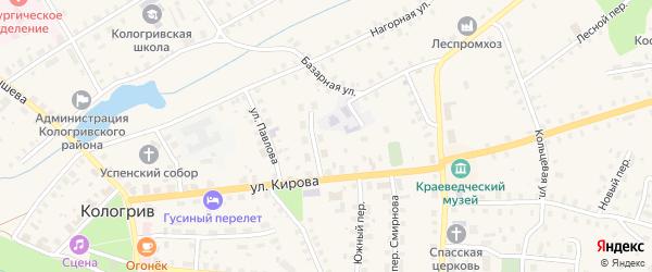 Улица Набережная речки Унжи на карте Кологрива с номерами домов