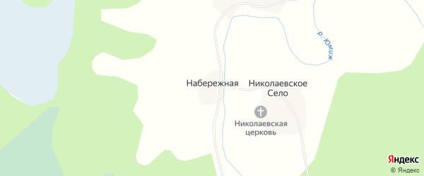 Карта Набережной деревни в Архангельской области с улицами и номерами домов