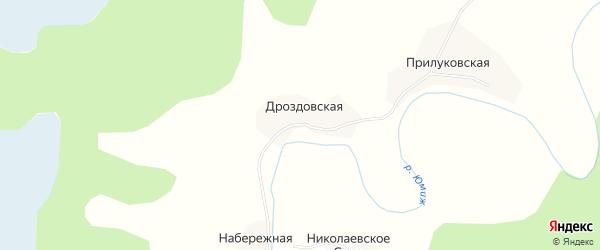 Карта Дроздовской деревни в Архангельской области с улицами и номерами домов