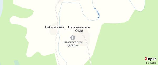 Карта деревни Николаевского Села в Архангельской области с улицами и номерами домов