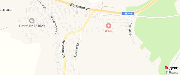 Луговая улица на карте деревни Шотова с номерами домов