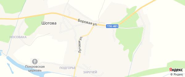 Карта деревни Шотова в Архангельской области с улицами и номерами домов