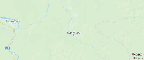 Карта Пинежского района Архангельской области с городами и населенными пунктами