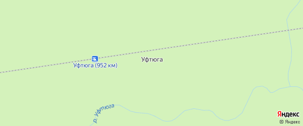 Карта поселка Уфтюги в Архангельской области с улицами и номерами домов