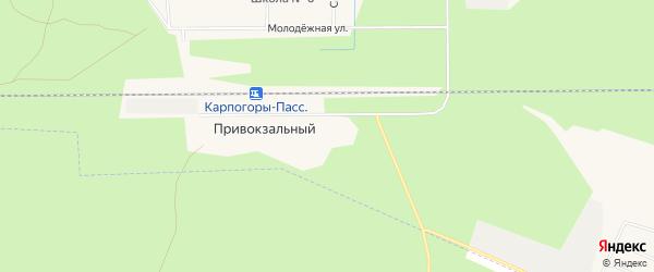 Карта Привокзального поселка в Архангельской области с улицами и номерами домов