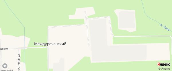 Карта Междуреченского поселка в Архангельской области с улицами и номерами домов