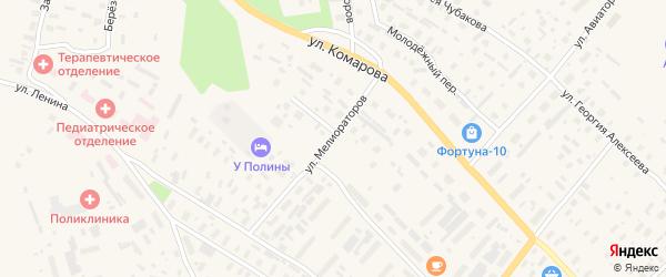 Улица Мелиораторов на карте села Карпогор с номерами домов