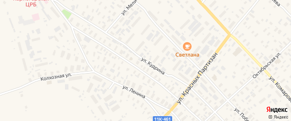 Улица Кудрина на карте села Карпогор с номерами домов