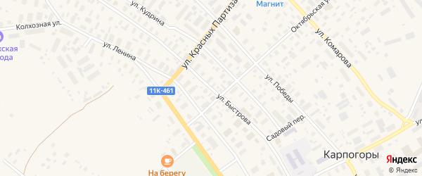 Улица Быстрова на карте села Карпогор с номерами домов